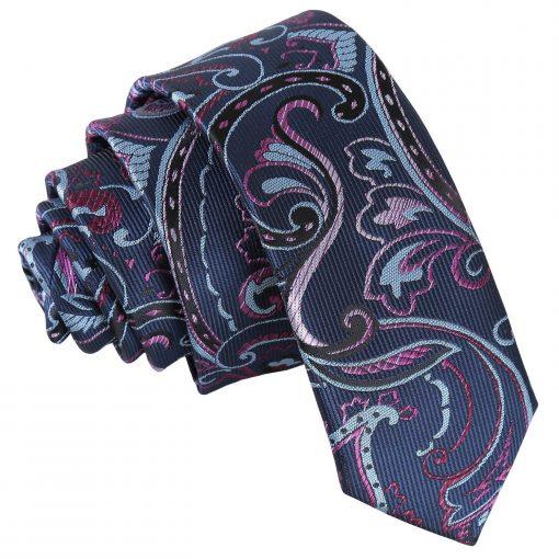 Blue & Pink Cypress Paisley Skinny Tie