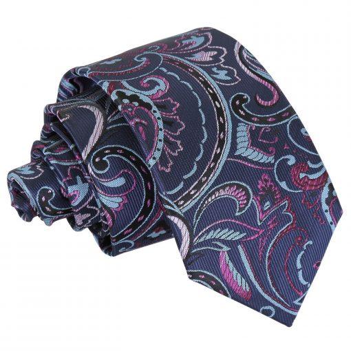 Blue & Pink Cypress Paisley Slim Tie