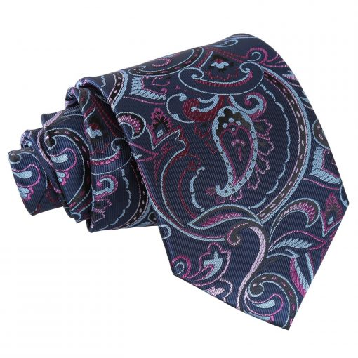 Blue & Pink Cypress Paisley Classic Tie