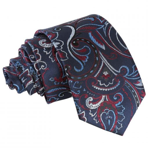 Navy & Burgundy Cypress Paisley Slim Tie