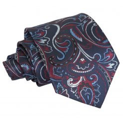 Navy & Burgundy Cypress Paisley Classic Tie