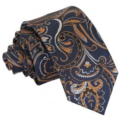 Navy & Gold Cypress Paisley Slim Tie