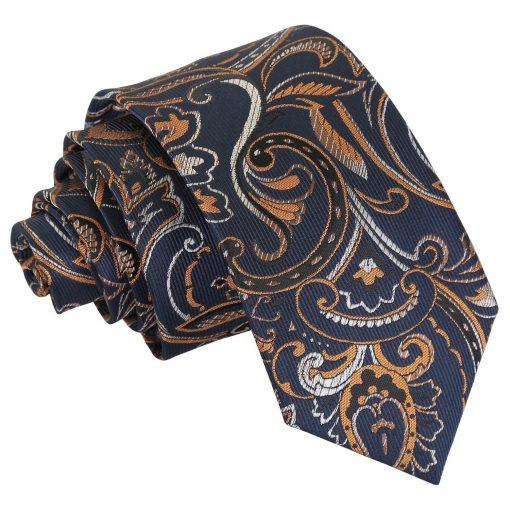 Navy & Gold Cypress Paisley Slim Tie
