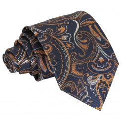 Navy & Gold Cypress Paisley Classic Tie