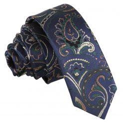 Navy & Green Cypress Paisley Skinny Tie