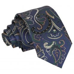 Navy & Green Cypress Paisley Slim Tie
