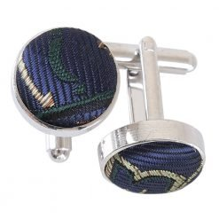 Navy & Green Cypress Paisley Cufflinks