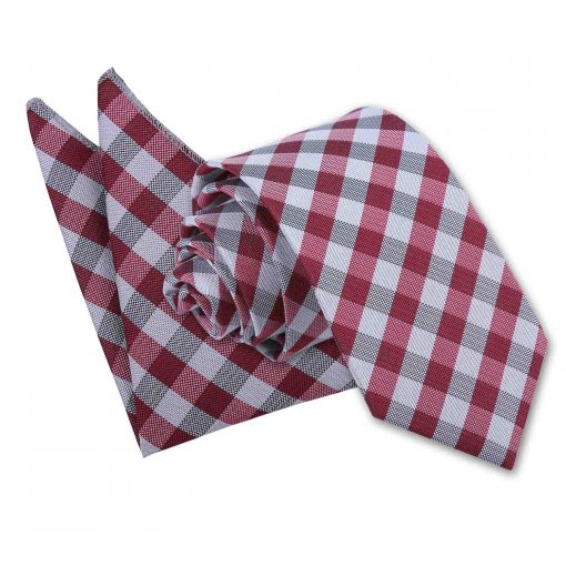Dark Red Gingham Check Tie & Pocket Square Set