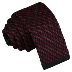 Black and Burgundy Diagonal Stripe Knitted Skinny Tie