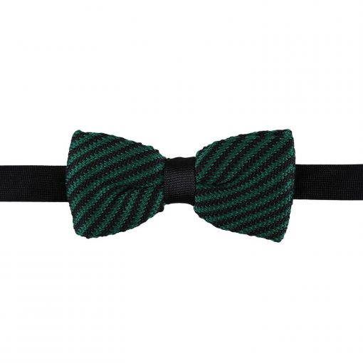 Black and Green Diagonal Stripe Knitted Pre-Tied Bow Tie