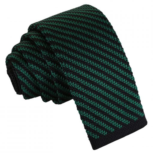 Black and Green Diagonal Stripe Knitted Skinny Tie
