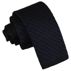 Black and Navy Diagonal Stripe Knitted Skinny Tie
