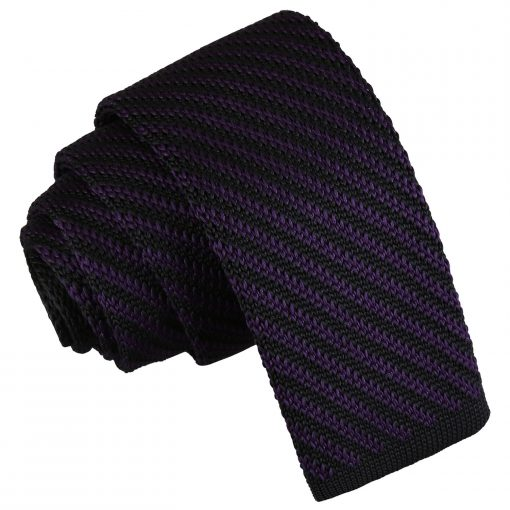 Black and Purple Diagonal Stripe Knitted Skinny Tie