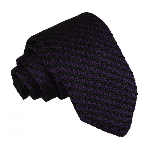 Black and Purple Diagonal Stripe Knitted Slim Tie