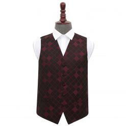 Burgundy Diamond Wedding Waistcoat
