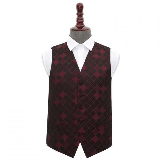 Burgundy Diamond Wedding Waistcoat