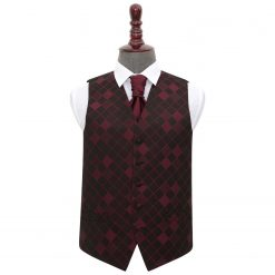 Burgundy Diamond Wedding Waistcoat & Cravat Set
