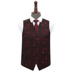 Burgundy Diamond Wedding Waistcoat & Tie Set