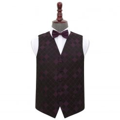 Cadbury Purple Diamond Wedding Waistcoat & Bow Tie Set