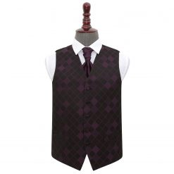 Cadbury Purple Diamond Wedding Waistcoat & Cravat Set