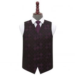 Cadbury Purple Diamond Wedding Waistcoat & Tie Set