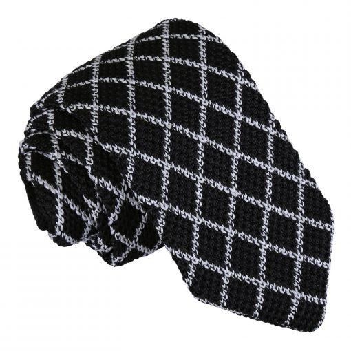 White and Black Diamond Grid Knitted Slim Tie