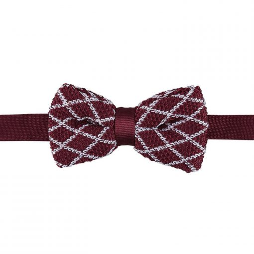 White and Black Diamond Grid Knitted Pre-Tied Bow Tie