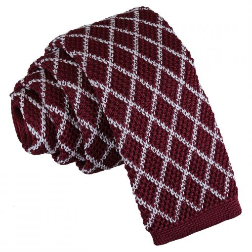 White and Burgundy Diamond Grid Knitted Skinny Tie