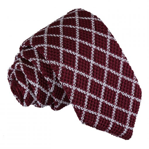 White and Burgundy Diamond Grid Knitted Slim Tie