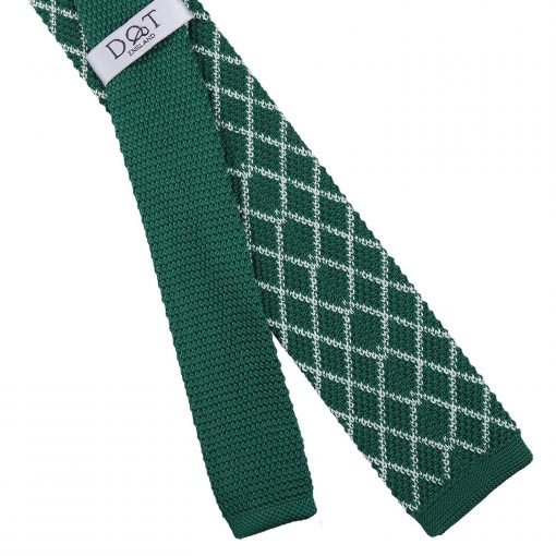 White and Olive Diamond Grid Knitted Skinny Tie