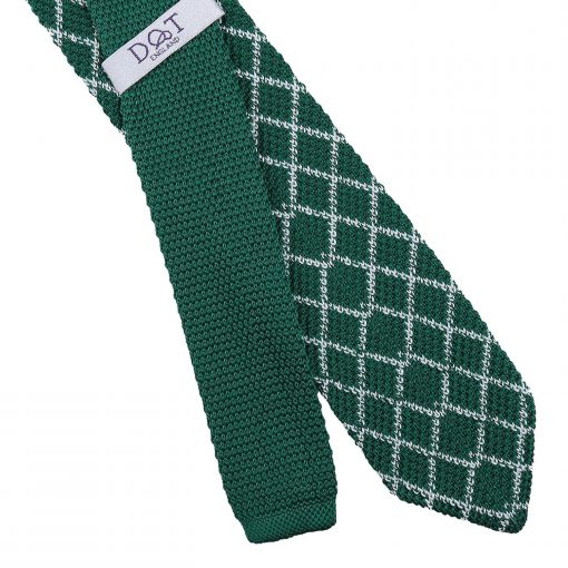 White and Olive Diamond Grid Knitted Slim Tie