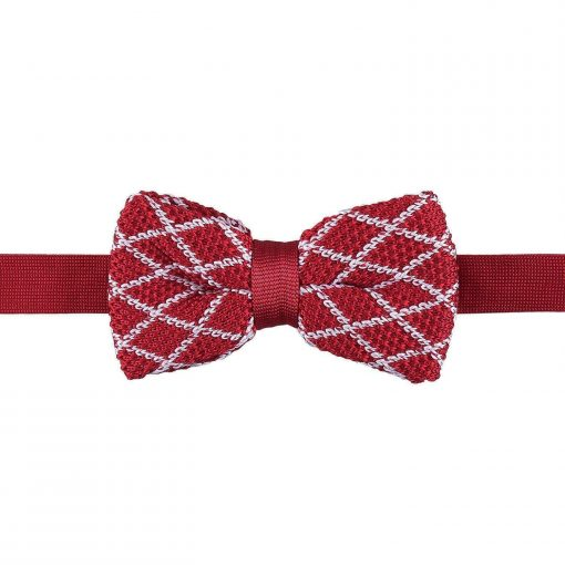 White and Red Diamond Grid Knitted Pre-Tied Bow Tie