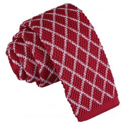 White and Red Diamond Grid Knitted Skinny Tie