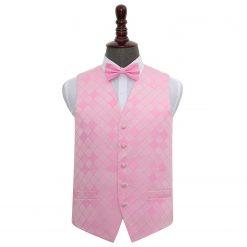 Light Pink Diamond Wedding Waistcoat & Bow Tie Set