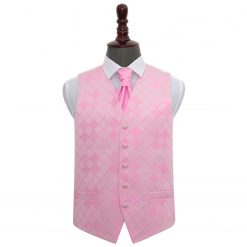 Light Pink Diamond Wedding Waistcoat & Cravat Set