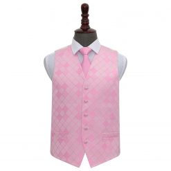 Light Pink Diamond Wedding Waistcoat & Tie Set