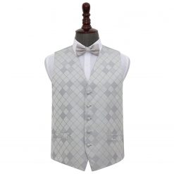 Silver Diamond Wedding Waistcoat & Bow Tie Set