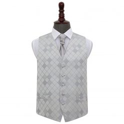 Silver Diamond Wedding Waistcoat & Cravat Set