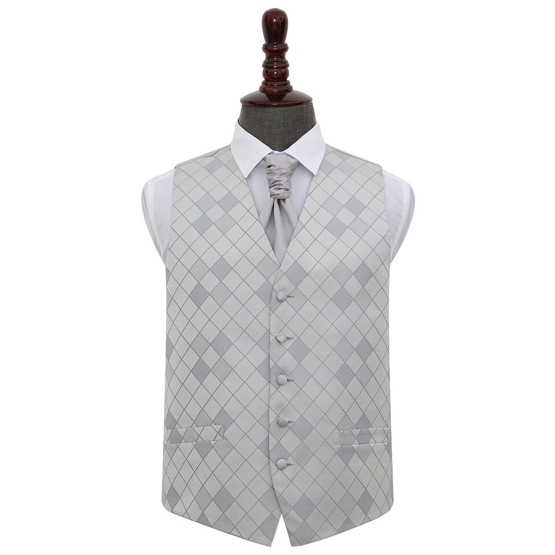 DQT Plaid Grey Diamond Tip Mens Pre-tied Bow Tie