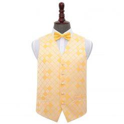 Sunflower Gold Diamond Wedding Waistcoat & Bow Tie Set