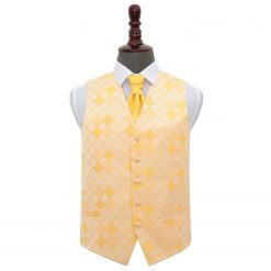 Sunflower Gold Diamond Wedding Waistcoat & Cravat Set