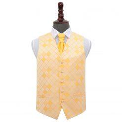 Sunflower Gold Diamond Wedding Waistcoat & Cravat Set