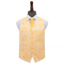 Sunflower Gold Diamond Wedding Waistcoat & Tie Set