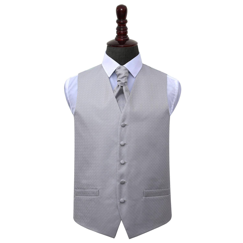 DQT Greek Key Patterned Silver Boys Wedding Waistcoat /& Cravat