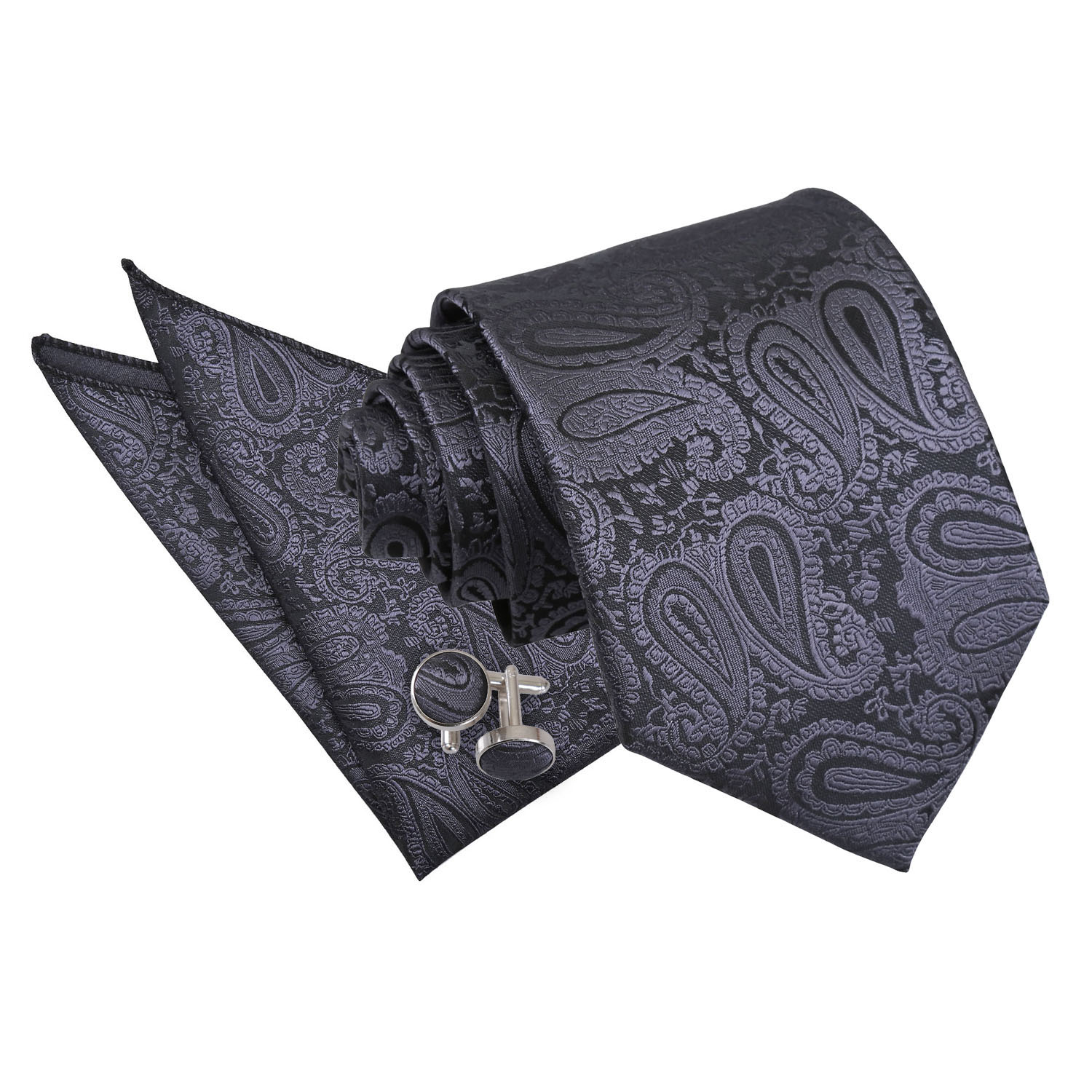 f1c0e6796590 Details about DQT Woven Floral Paisley Charcoal Grey Classic Skinny Tie  Hanky Cufflinks Set