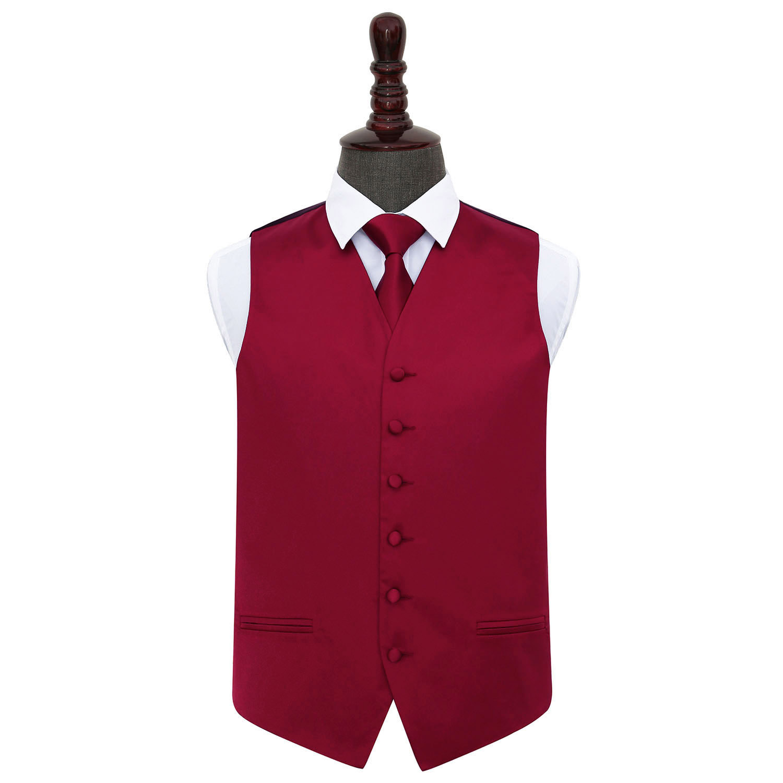 DQT Satin Plain Solid Burgundy Mens Wedding Waistcoat /& Bow Tie Set S-5XL