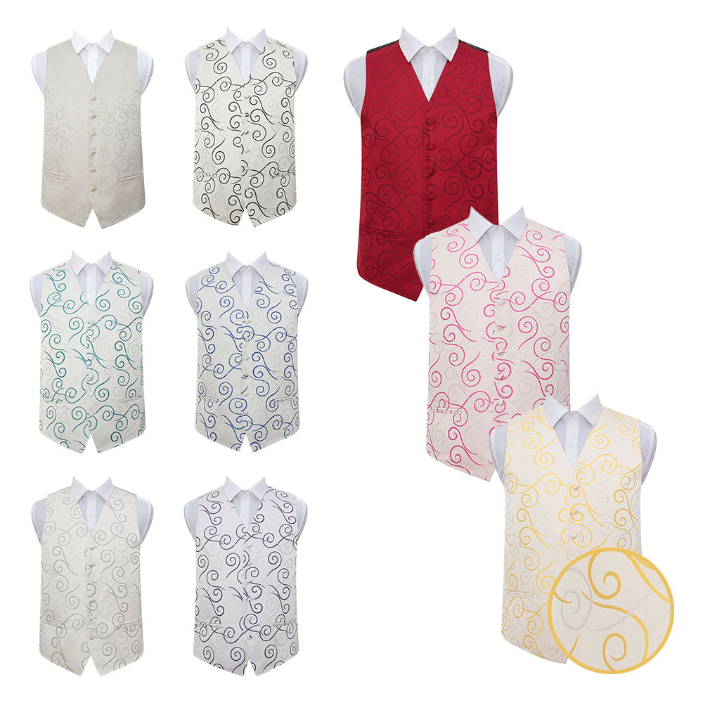 DQT Premium Woven Swirl Mens Wedding Waistcoat Cravat Hanky Cufflinks Set S-5XL