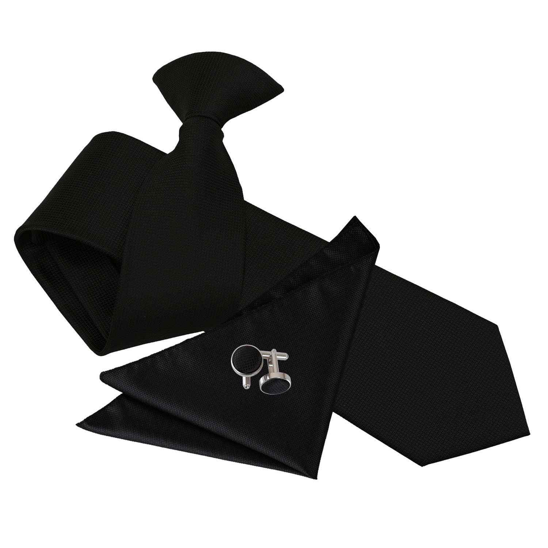 34b3057205b2 DQT Woven Plain Solid Check Black Slim Clip On Tie Hanky Cufflinks ...