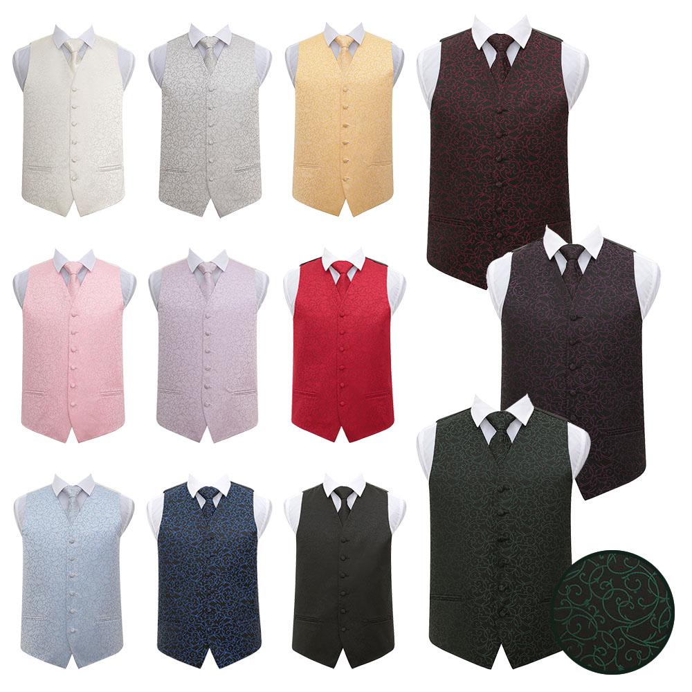 DQT Swirl Patterned Mens Wedding Tuxedo Waistcoat Neck Tie