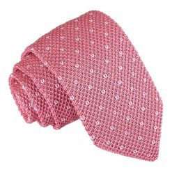 Baby Pink Flecked V Polka Dot Knitted Slim Tie